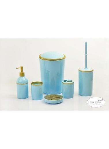 Akayev İmera 6 Parça Akrilik Mavi Altın Banyo Seti Mavi